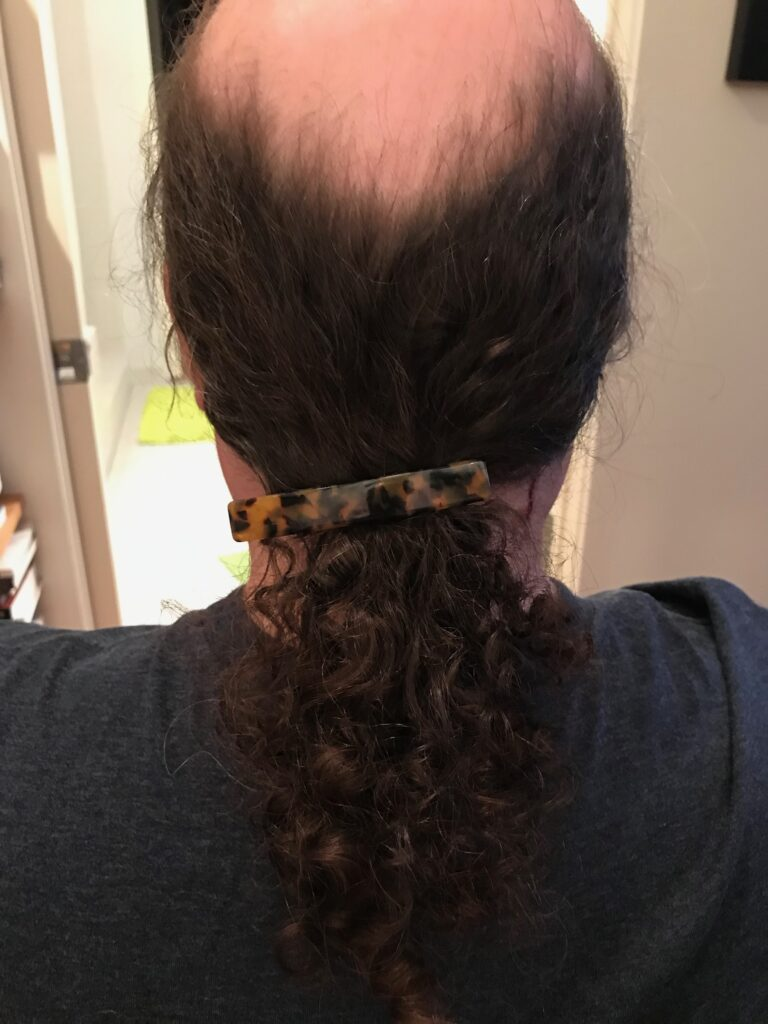 last photo of my pony tail.  You can see the clip sliding down.